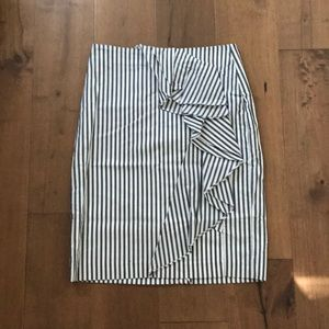 NWT Banana Republic Grey & White Stripe Skirt sz 8